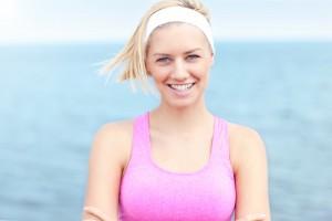 Woman in pink sports bra