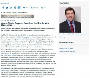 Dr. Holzman Discusses Male Liposuction